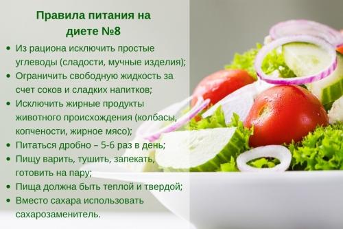 Правила питания при столе №8