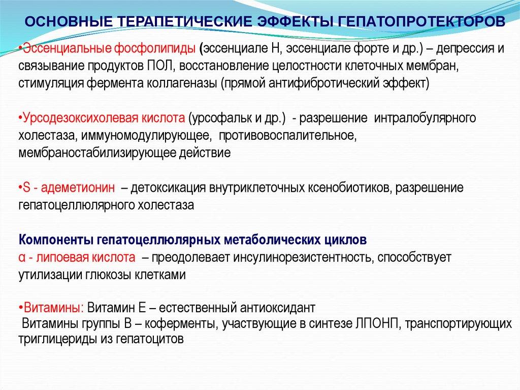 Основные терапевтические свойства гепатопротекторов