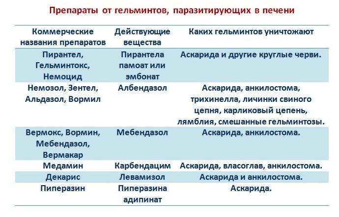 Таблица 2 – Препараты от гельминтов