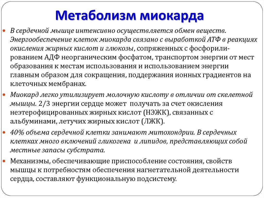 Метаболизм миокарда