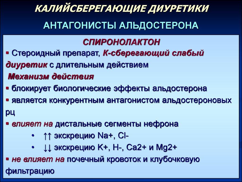 Механизм действия калийсберегающих диуретиков
