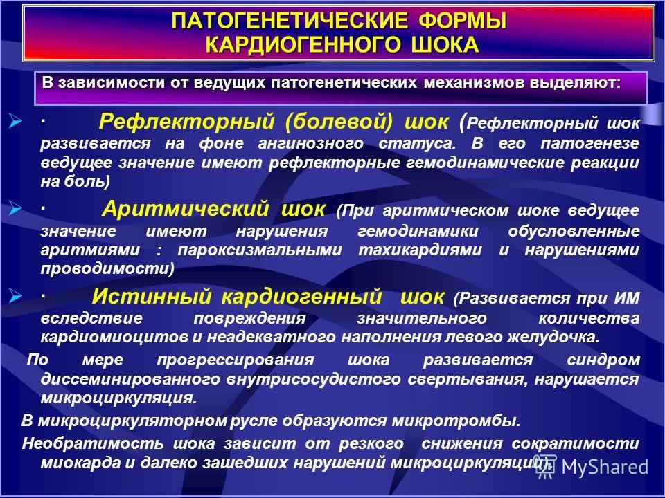Патогенетические формы КШ