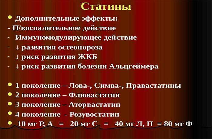 Свойства статинов