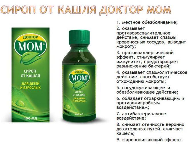 Действие сиропа Доктор МОМ